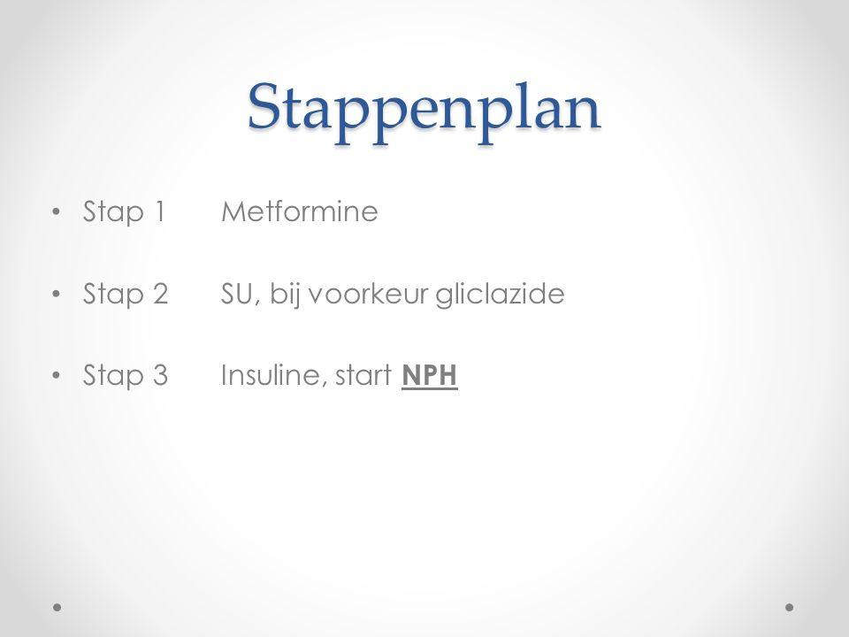 Stappenplan Stap 1 Metformine Stap 2 SU, bij voorkeur gliclazide