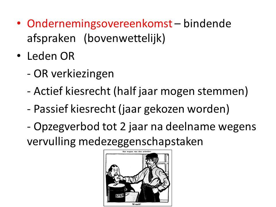 Ondernemingsovereenkomst – bindende afspraken (bovenwettelijk)