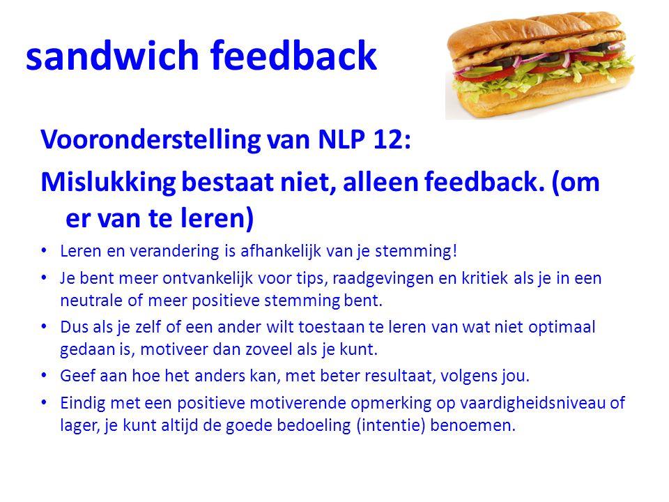 sandwich feedback Vooronderstelling van NLP 12: