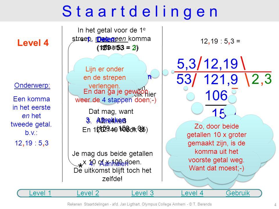 S t a a r t d e l i n g e n In het getal voor de 1e streep, mag geen komma staan. Delen: (121 : 53 = 2)