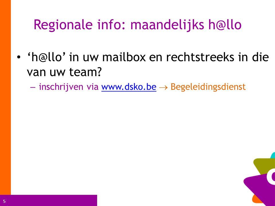Regionale info: maandelijks h@llo