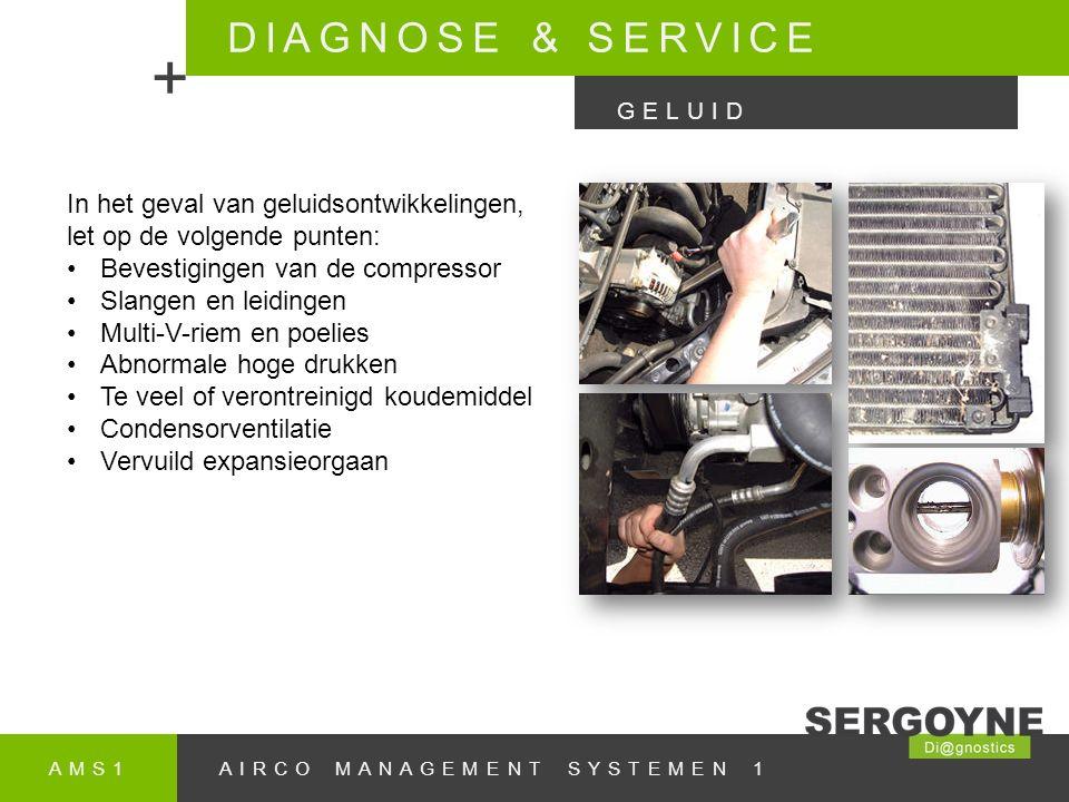 DIAGNOSE & SERVICE + GELUID. In het geval van geluidsontwikkelingen, let op de volgende punten: Bevestigingen van de compressor.