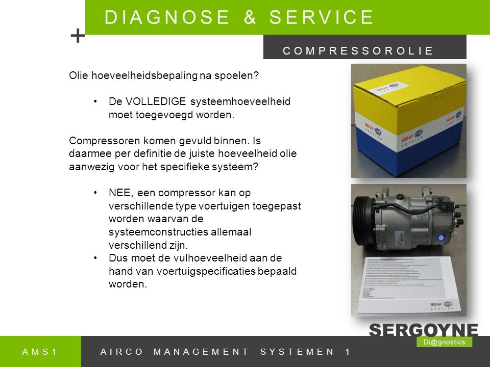 + DIAGNOSE & SERVICE COMPRESSOROLIE