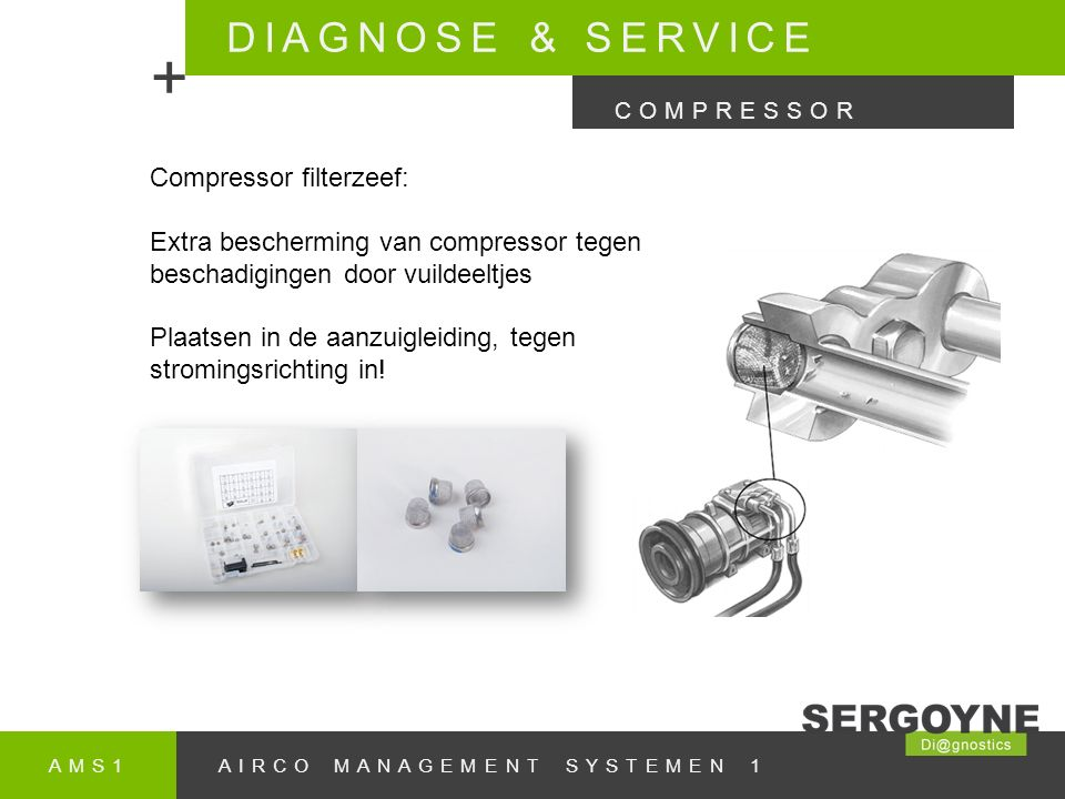 + DIAGNOSE & SERVICE Compressor filterzeef:
