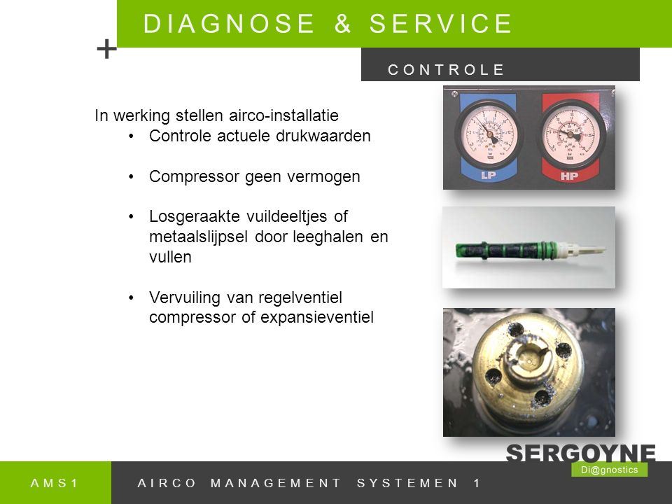 + DIAGNOSE & SERVICE In werking stellen airco-installatie