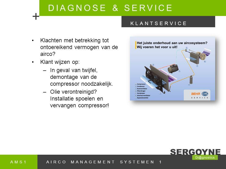 DIAGNOSE & SERVICE + KLANTSERVICE. Klachten met betrekking tot ontoereikend vermogen van de airco