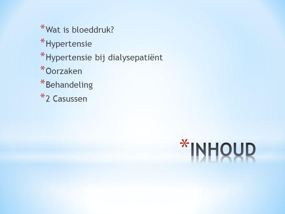 INHOUD Wat is bloeddruk Hypertensie Hypertensie bij dialysepatiënt