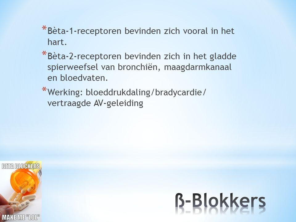 ß-Blokkers Bèta-1-receptoren bevinden zich vooral in het hart.