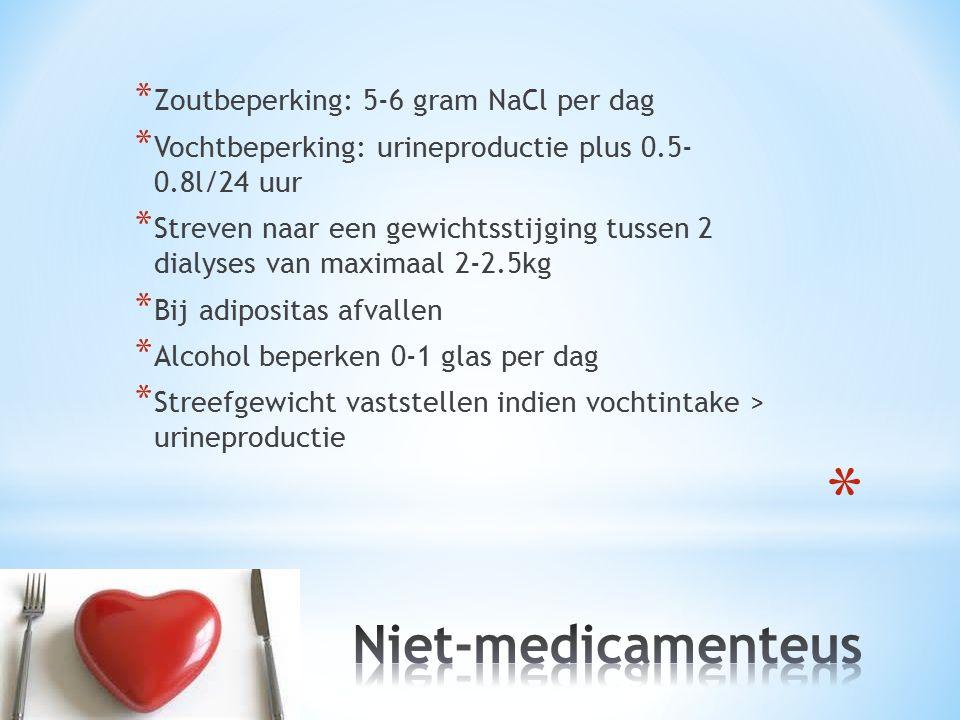 Niet-medicamenteus Zoutbeperking: 5-6 gram NaCl per dag