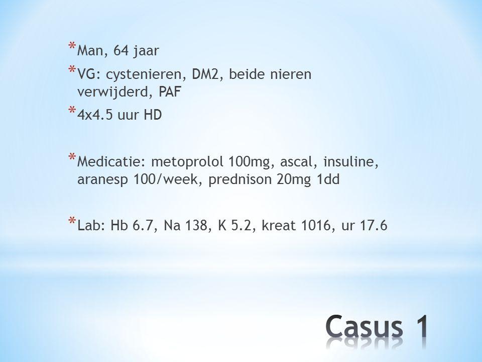 Man, 64 jaar VG: cystenieren, DM2, beide nieren verwijderd, PAF. 4x4.5 uur HD.