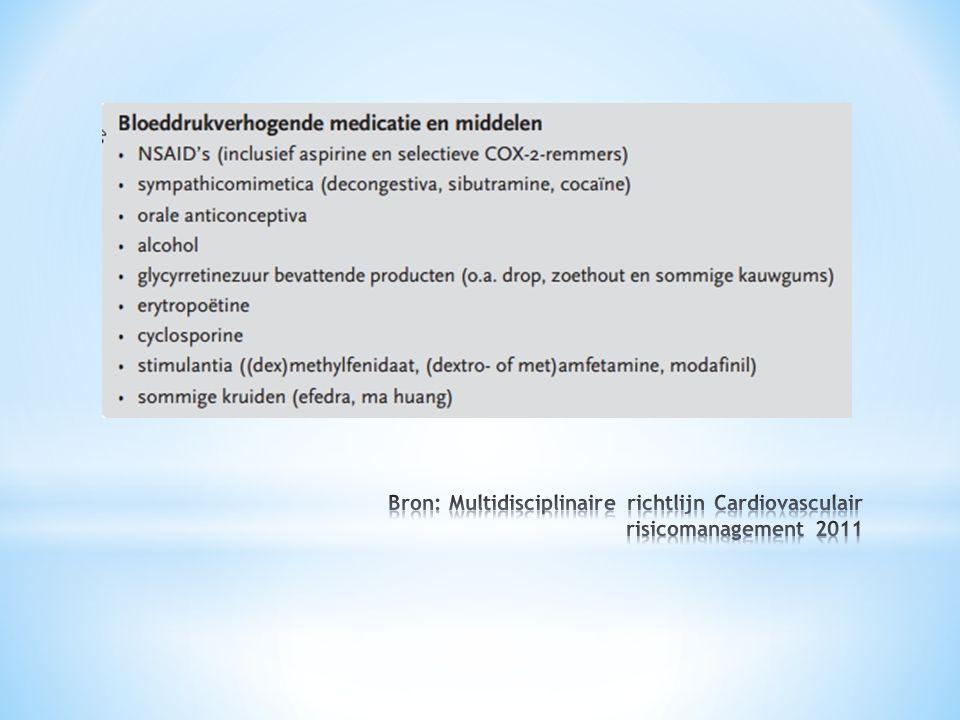 Bron: Multidisciplinaire richtlijn Cardiovasculair risicomanagement 2011
