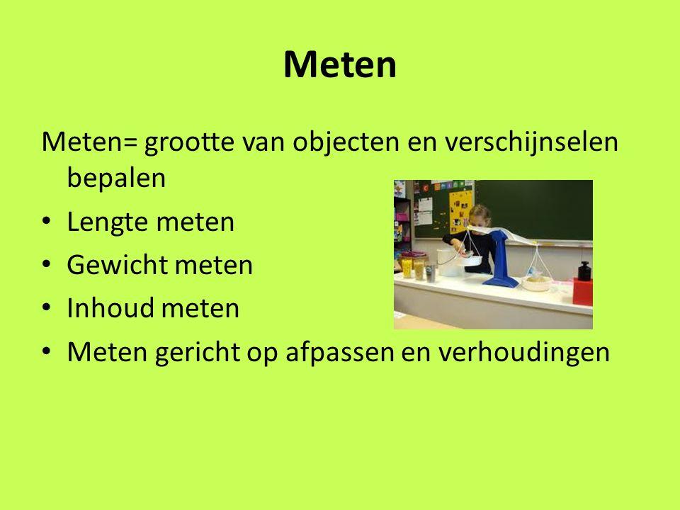 Meten Meten= grootte van objecten en verschijnselen bepalen