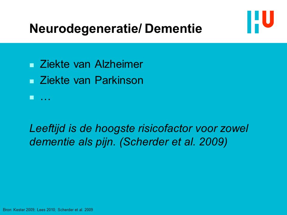 Neurodegeneratie/ Dementie