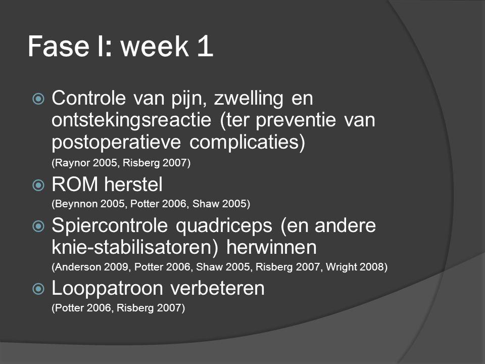 Fase I: week 1 Controle van pijn, zwelling en ontstekingsreactie (ter preventie van postoperatieve complicaties)
