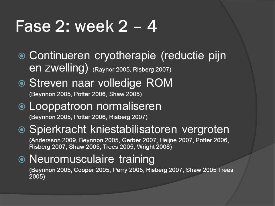 Fase 2: week 2 – 4 Continueren cryotherapie (reductie pijn en zwelling) (Raynor 2005, Risberg 2007)