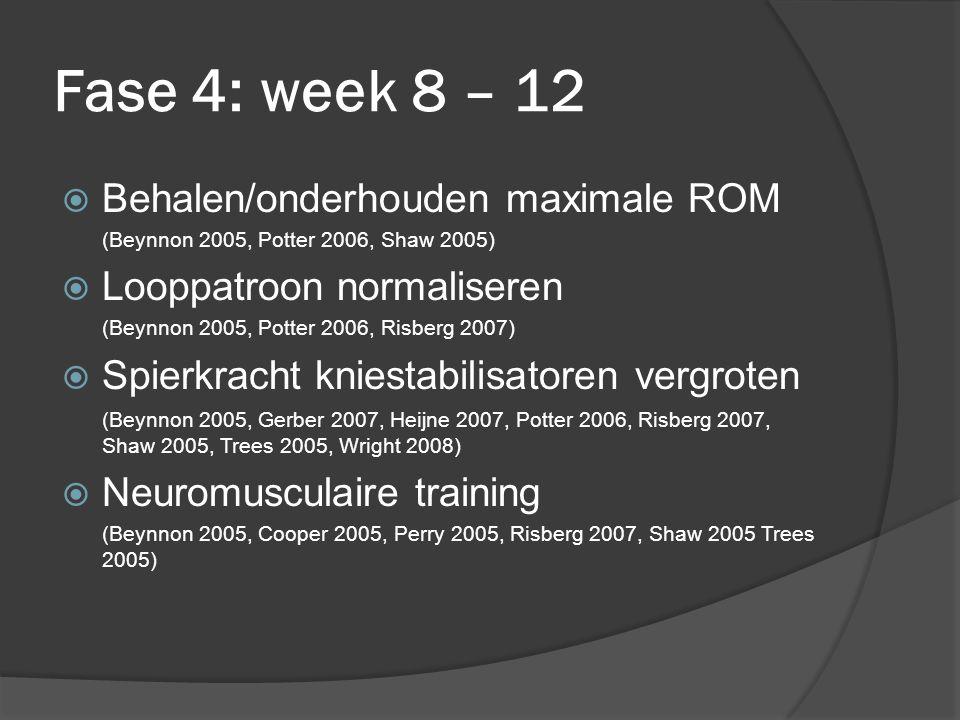 Fase 4: week 8 – 12 Behalen/onderhouden maximale ROM