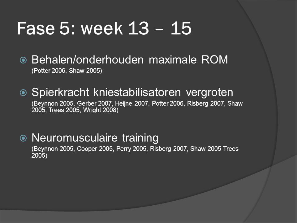 Fase 5: week 13 – 15 Behalen/onderhouden maximale ROM