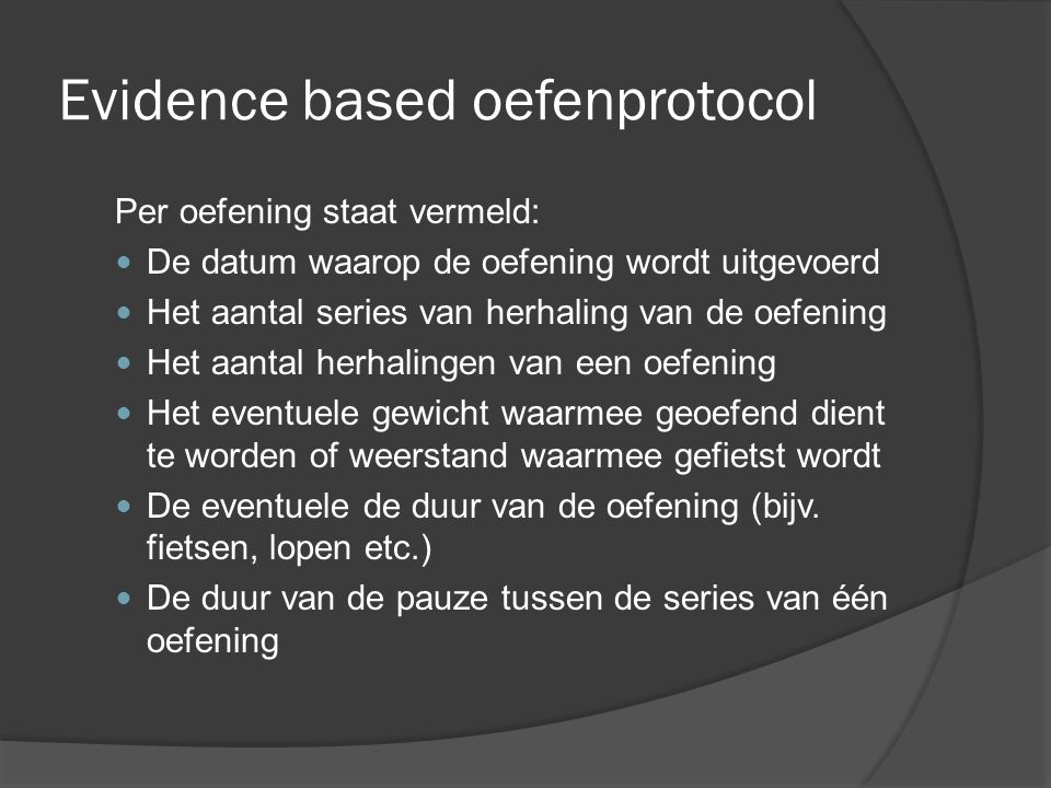 Evidence based oefenprotocol