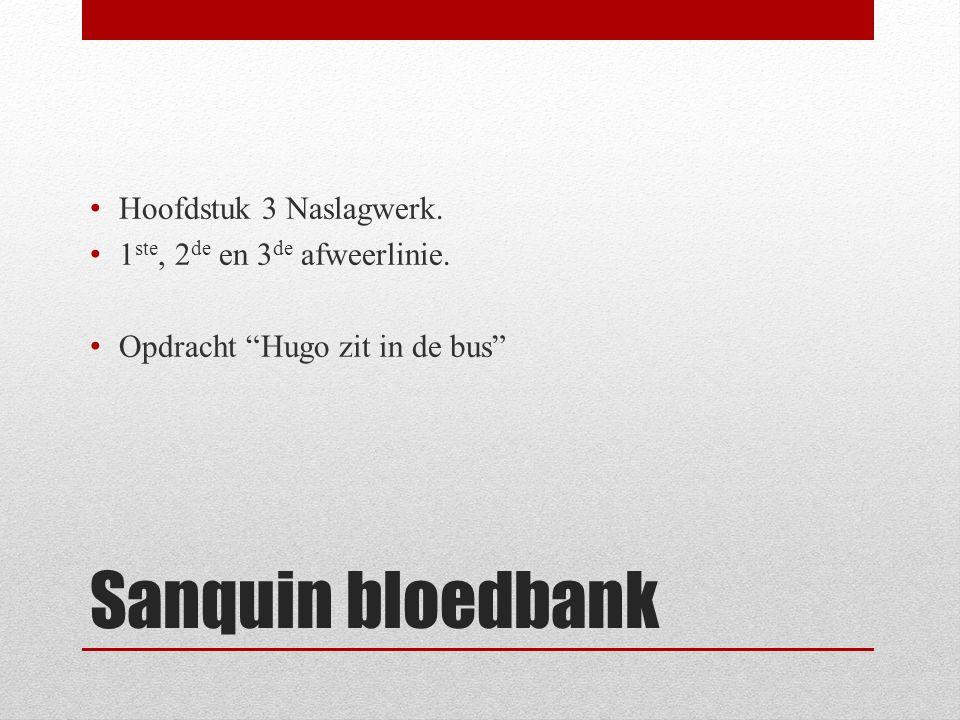 Sanquin bloedbank Hoofdstuk 3 Naslagwerk.