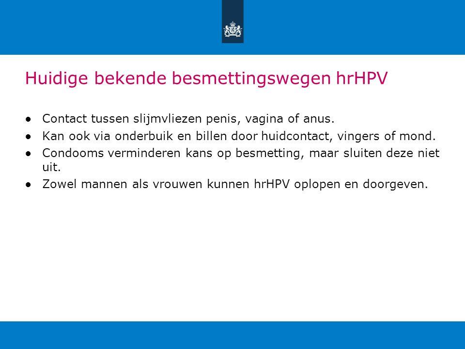 Huidige bekende besmettingswegen hrHPV