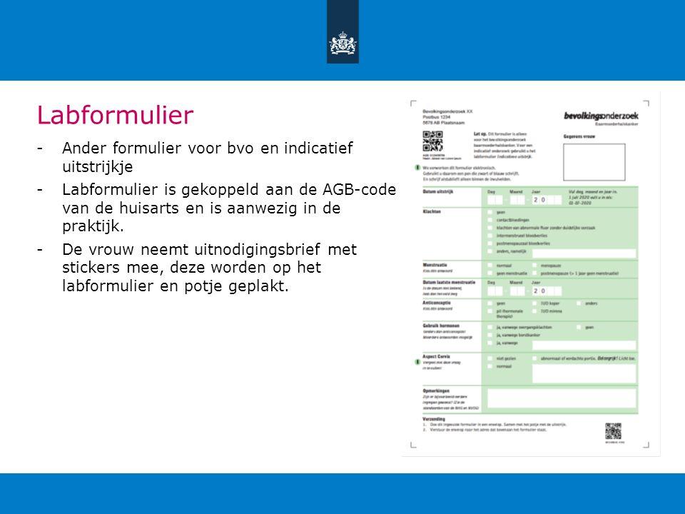 Labformulier Ander formulier voor bvo en indicatief uitstrijkje