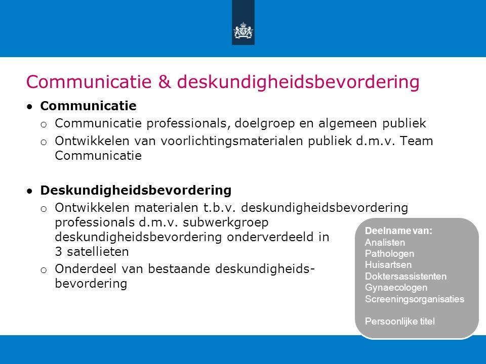 Communicatie & deskundigheidsbevordering