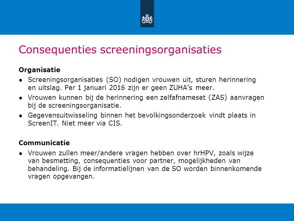 Consequenties screeningsorganisaties