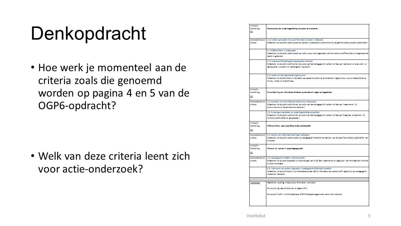 Denkopdracht Kritische handeling. C1. Groepsplannen onder begeleiding uitvoeren en evalueren. Competenties en criteria.