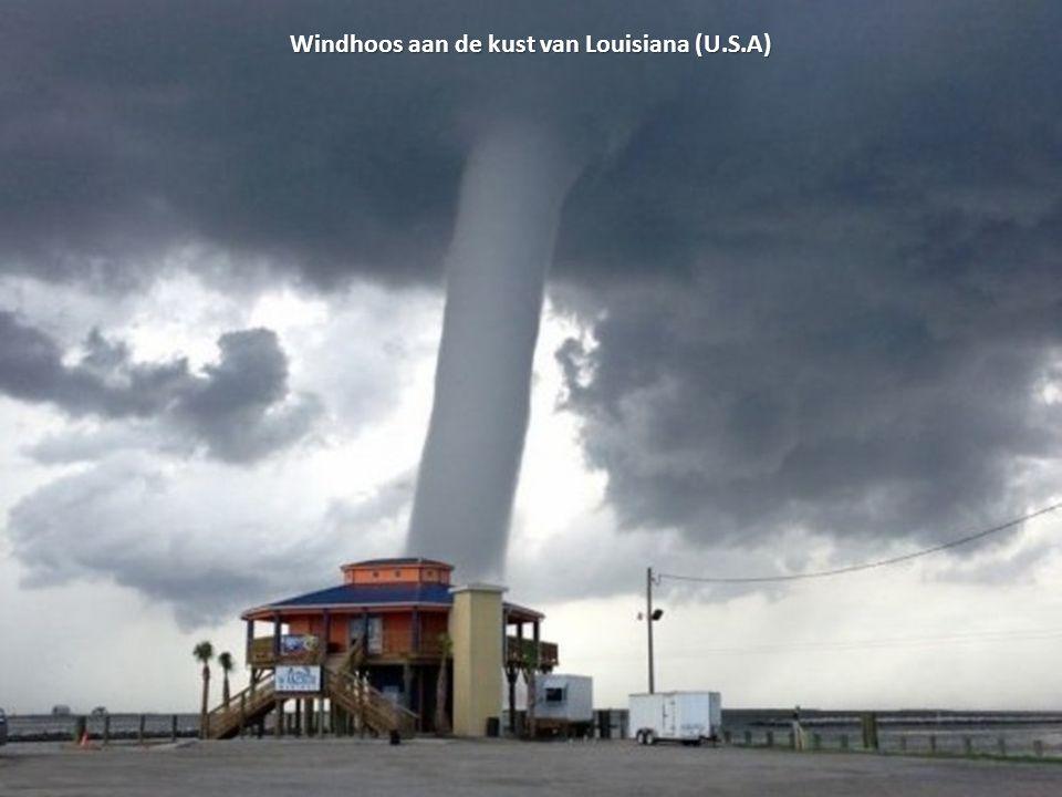 Windhoos aan de kust van Louisiana (U.S.A)