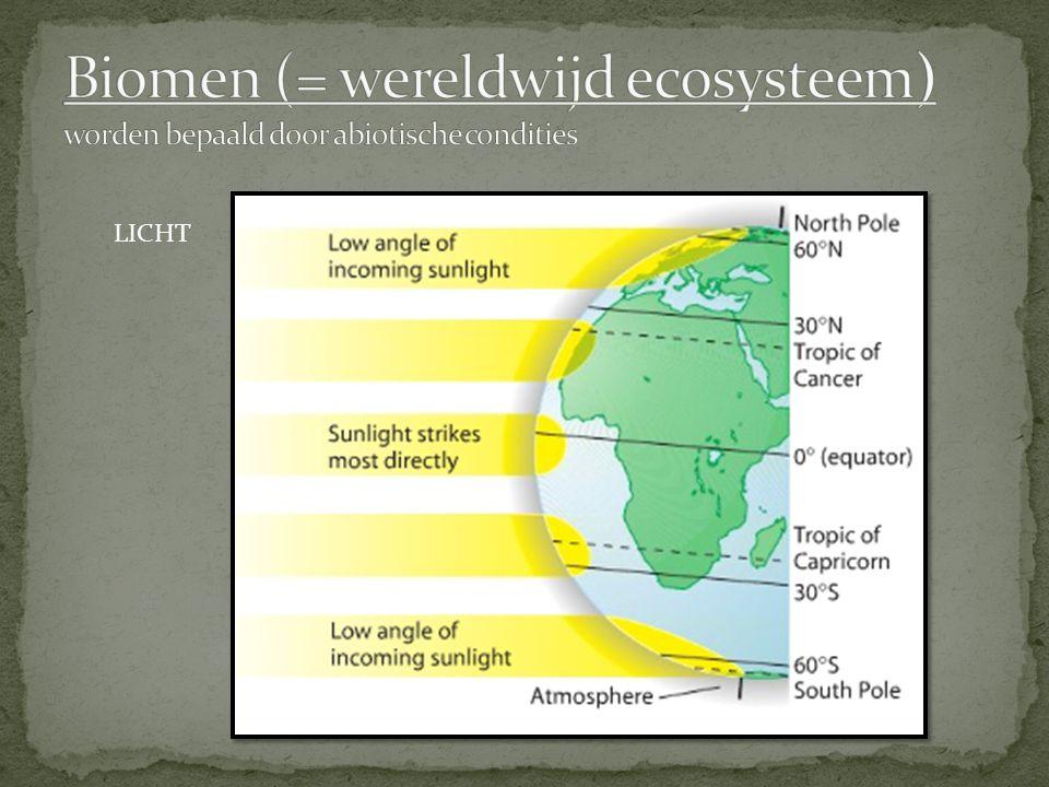 Biomen (= wereldwijd ecosysteem) worden bepaald door abiotische condities