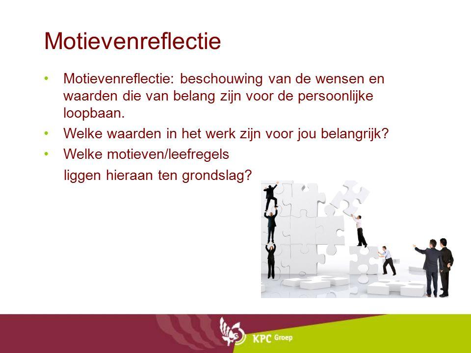 Motievenreflectie Motievenreflectie: beschouwing van de wensen en waarden die van belang zijn voor de persoonlijke loopbaan.