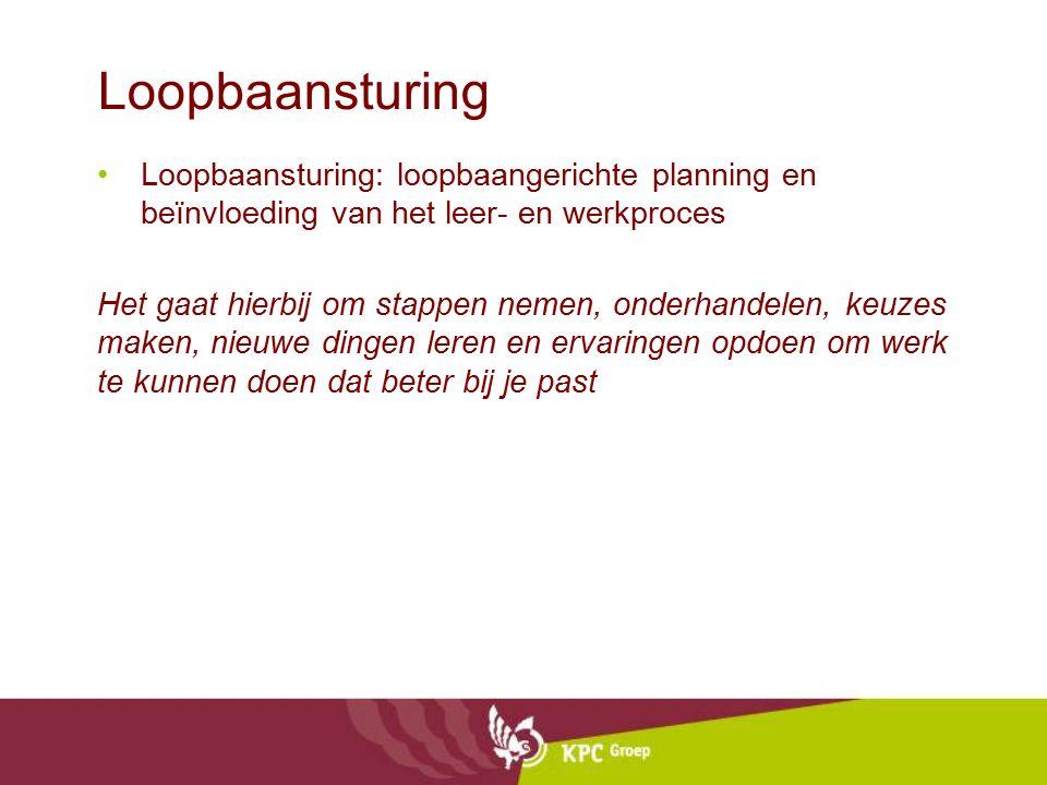 Loopbaansturing Loopbaansturing: loopbaangerichte planning en beïnvloeding van het leer- en werkproces.