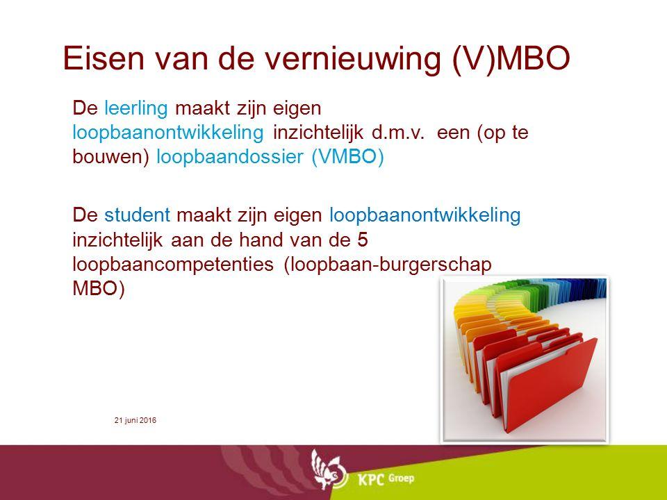 Eisen van de vernieuwing (V)MBO