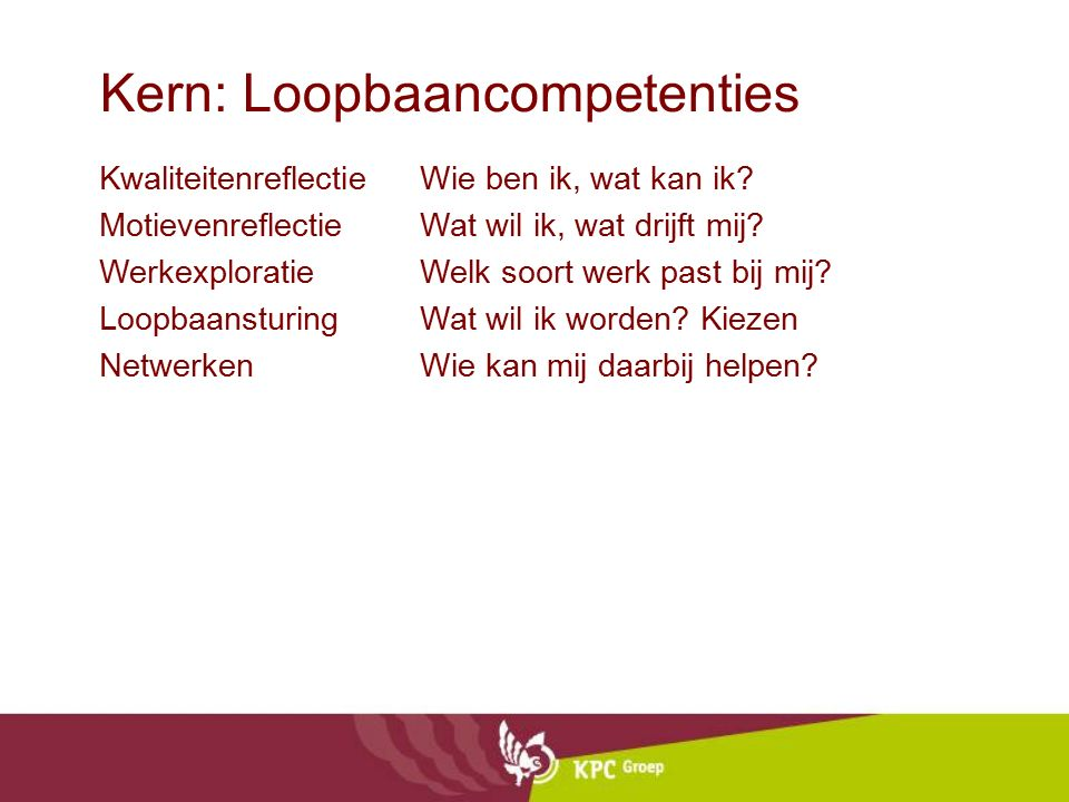 Kern: Loopbaancompetenties
