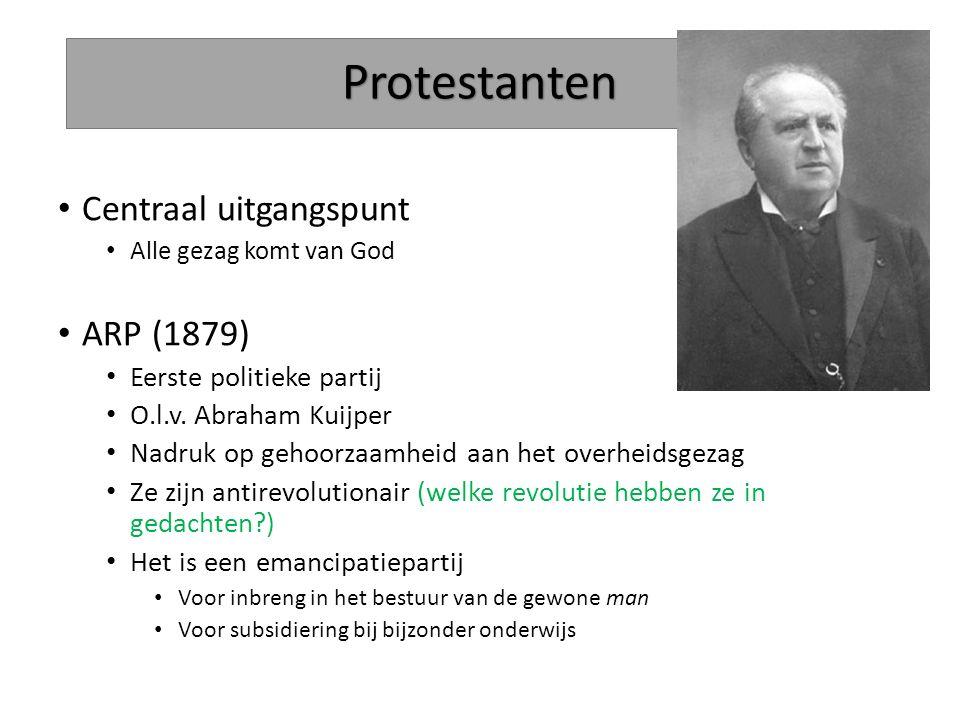 Protestanten Centraal uitgangspunt ARP (1879) Eerste politieke partij