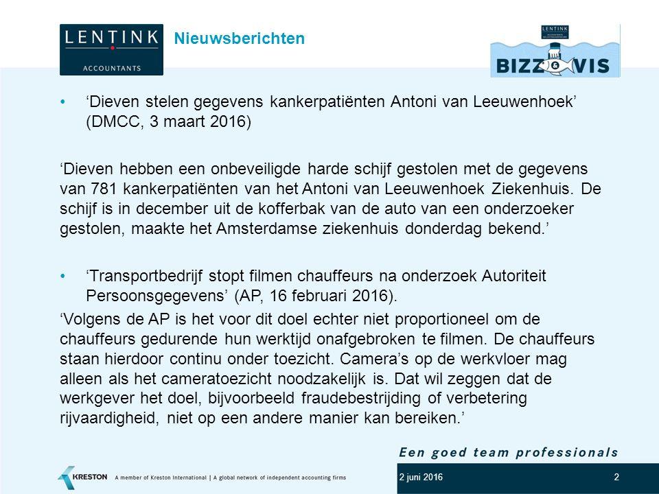 Nieuwsberichten 'Dieven stelen gegevens kankerpatiënten Antoni van Leeuwenhoek' (DMCC, 3 maart 2016)
