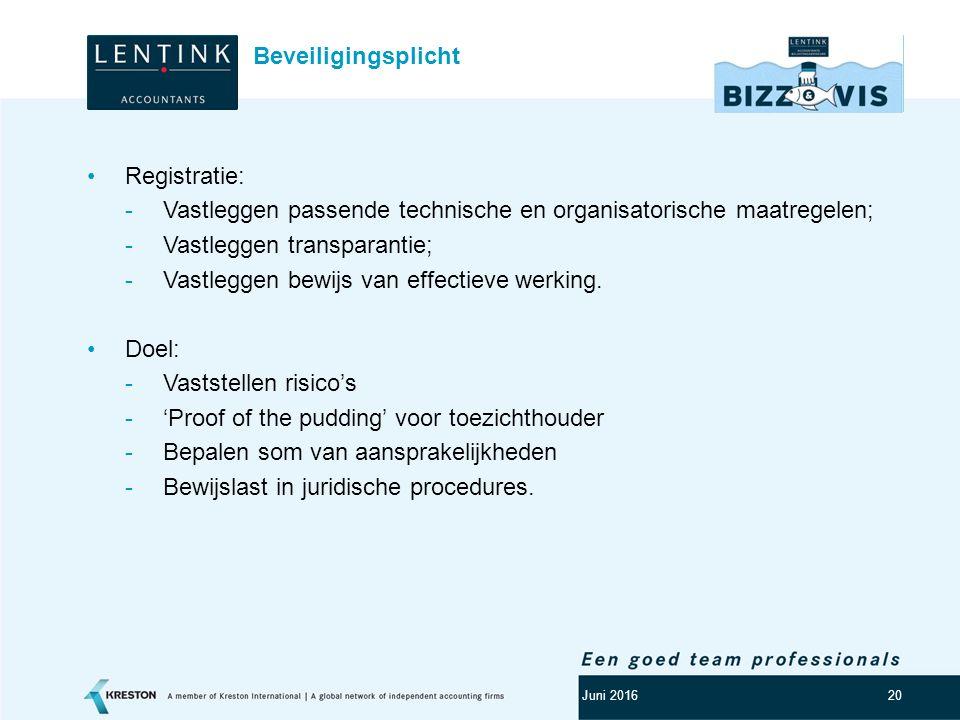 Vastleggen passende technische en organisatorische maatregelen;