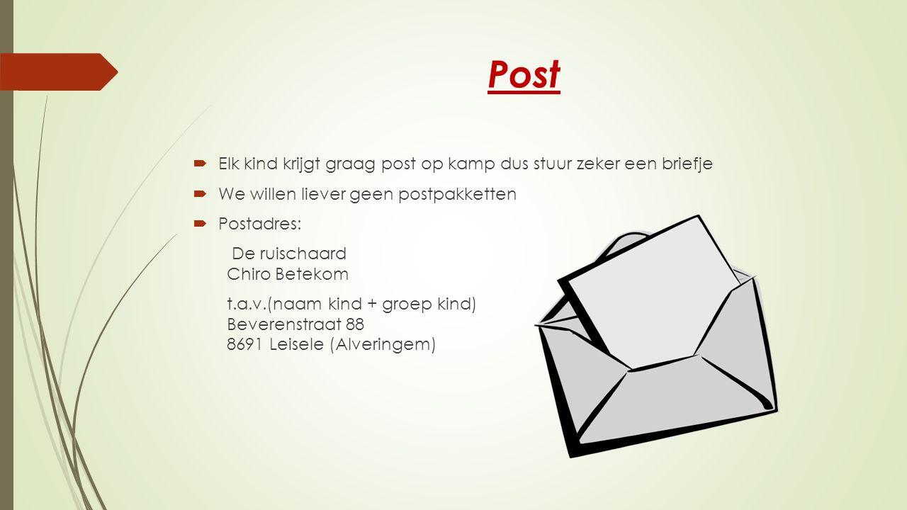 Post Elk kind krijgt graag post op kamp dus stuur zeker een briefje