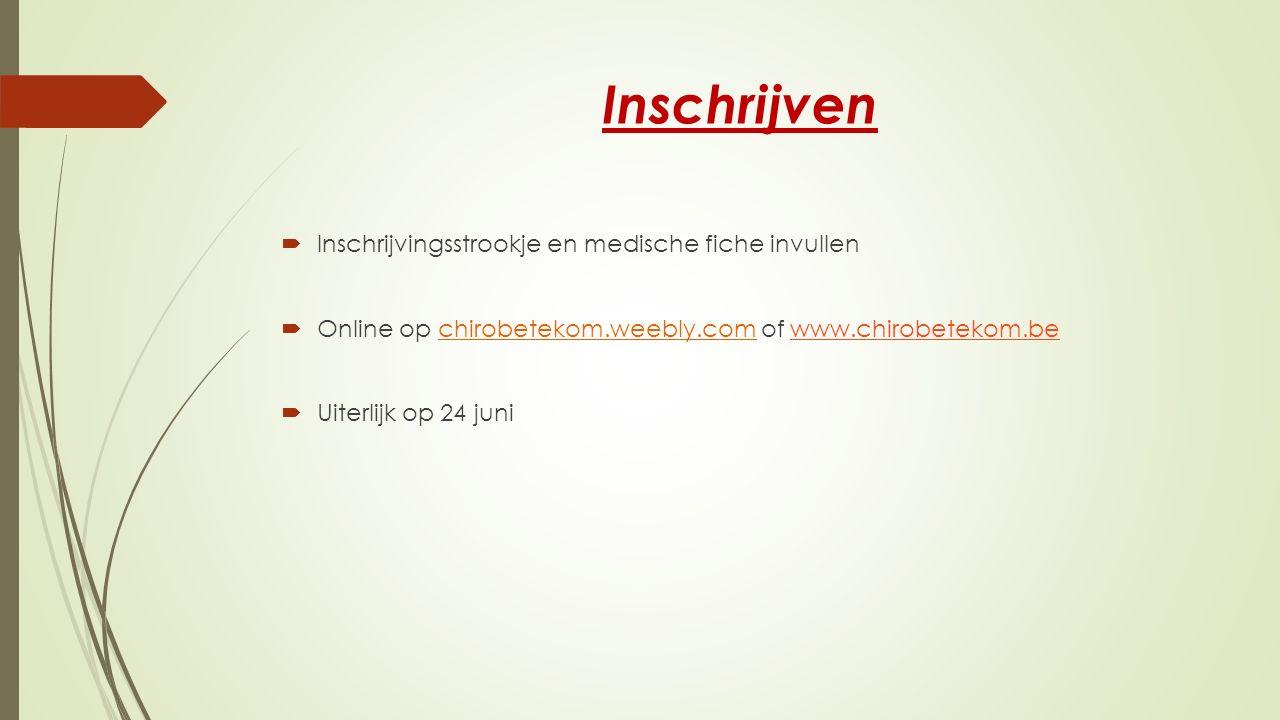 Inschrijven Inschrijvingsstrookje en medische fiche invullen