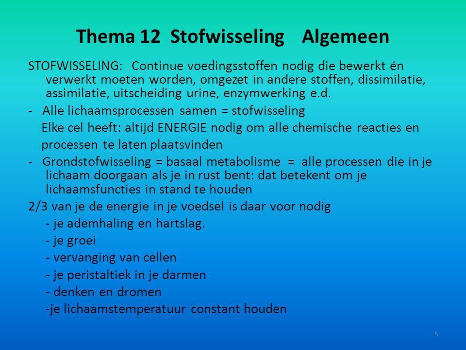Thema 12 Stofwisseling Algemeen