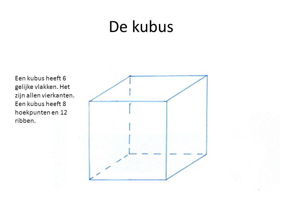 De kubus Een kubus heeft 6 gelijke vlakken. Het zijn allen vierkanten.