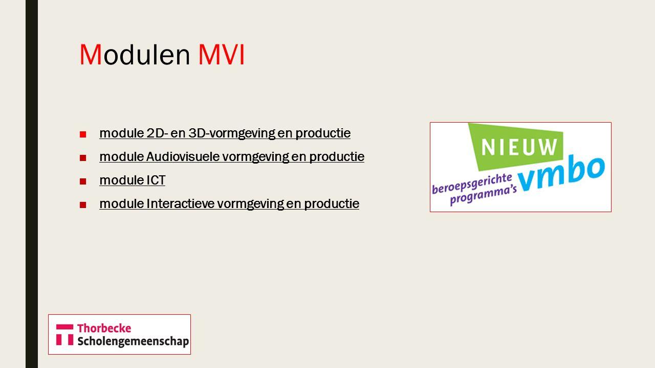 Modulen MVI module 2D- en 3D-vormgeving en productie