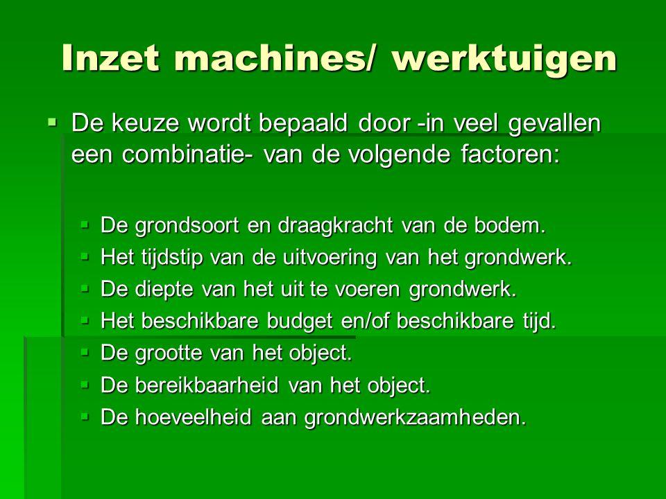 Inzet machines/ werktuigen