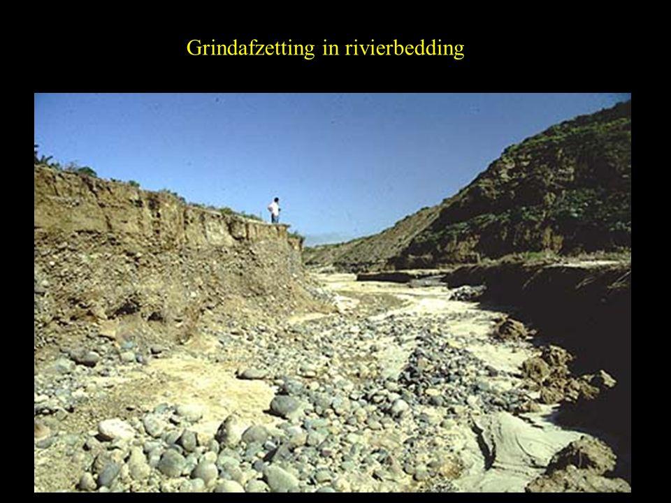 Grindafzetting in rivierbedding