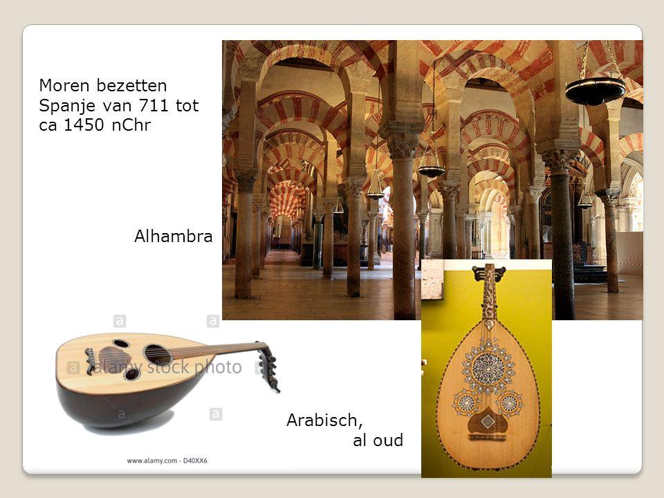 Moren bezetten Spanje van 711 tot ca 1450 nChr Alhambra Arabisch, al oud