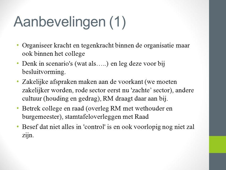 Aanbevelingen (1) Organiseer kracht en tegenkracht binnen de organisatie maar ook binnen het college.