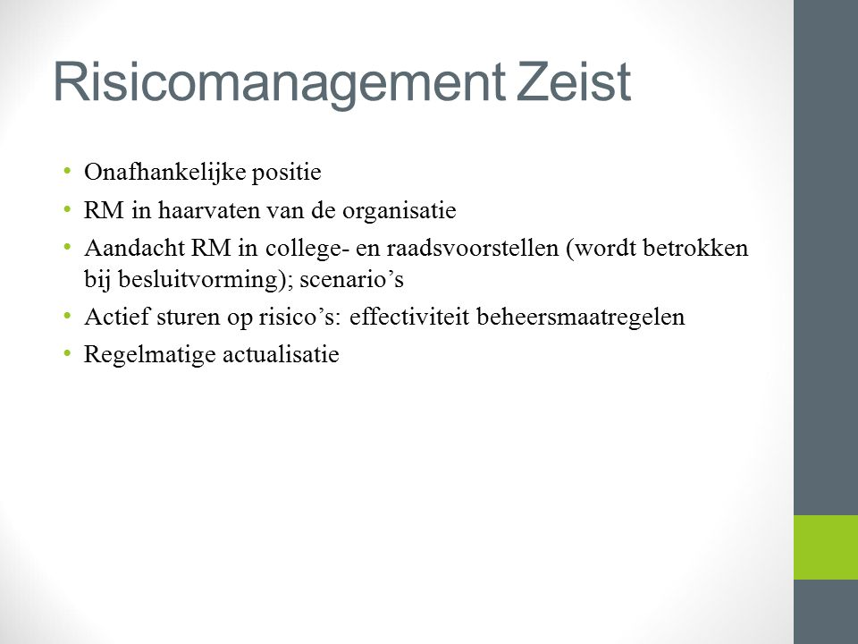 Risicomanagement Zeist