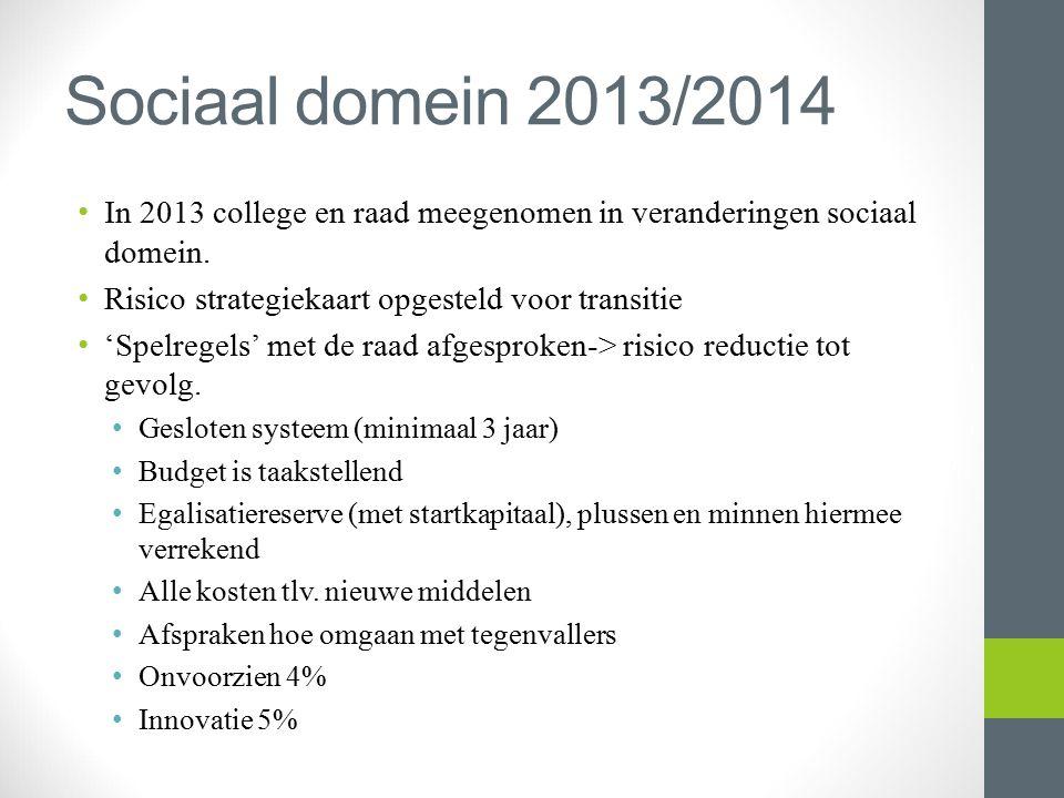 Sociaal domein 2013/2014 In 2013 college en raad meegenomen in veranderingen sociaal domein. Risico strategiekaart opgesteld voor transitie.
