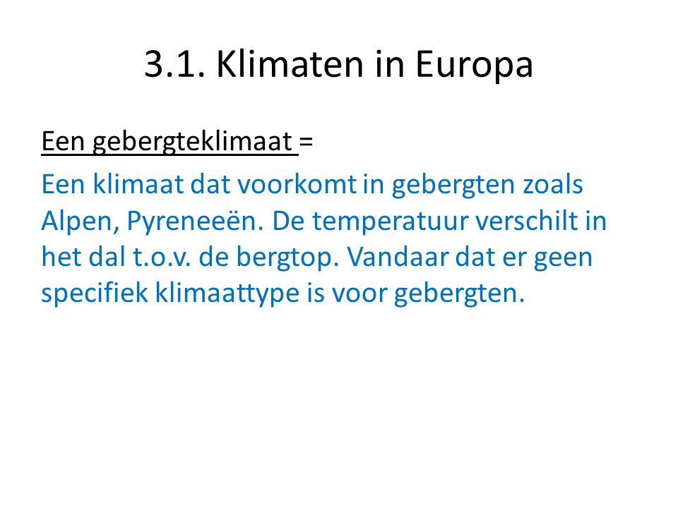 3.1. Klimaten in Europa