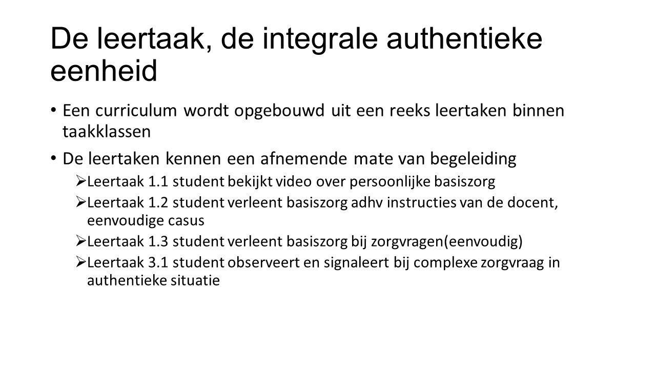 De leertaak, de integrale authentieke eenheid